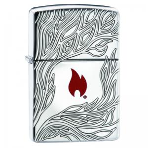 Zippo - Armor High Polish Chrome Flame - Windproof Lighter