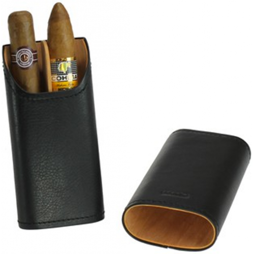 Adorini Leather Black Cigar Case - 2/3 Cigar Capacity - CHRISTMAS GIFT